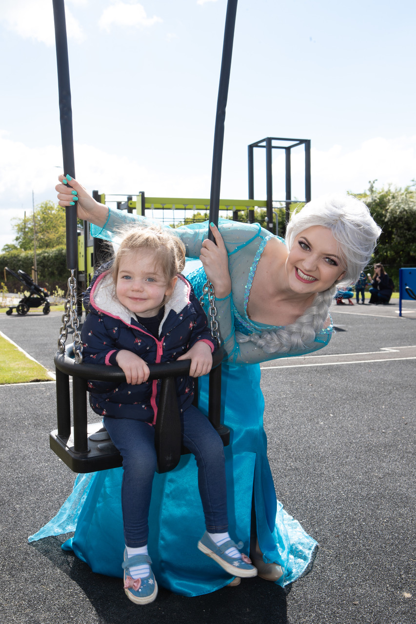 Annabel Wish loved playing on the swings with Elsa
