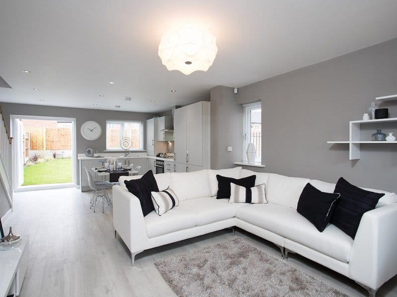 Showhome living room at Bower Brook Gardens in Widnes
