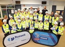 Year 6 pupils from St Lukes Primary School help Russell Homes and Rochdale Hornets launch their new partnership