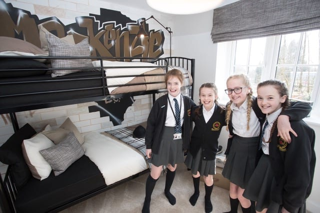 The St Vincent pupils check out the Cawson showhome at Greenbooth Village