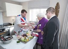 Showing off locally sourced ingredients to former Rochdale Mayor Jane Gartside and Norden councillor Peter Winkler