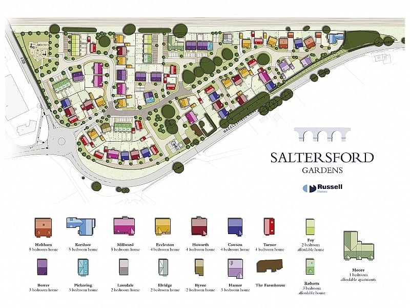 The development layout at Saltersford Gardens, Holmes Chapel