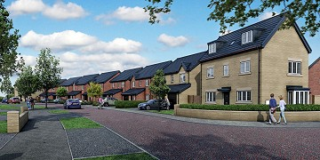 Streetscene CGI of new homes at Stubley Meadows